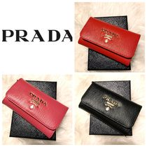 PRADA Calfskin Plain Leather Keychains & Bag Charms