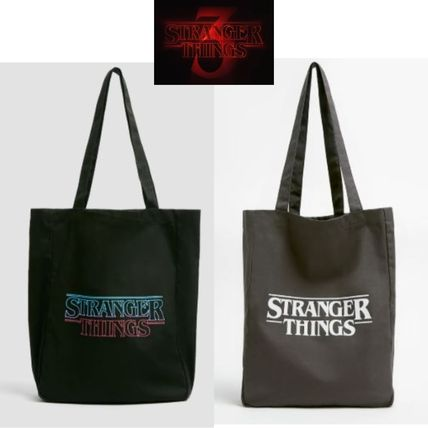 Casual Style Unisex Street Style A4 Logo Totes