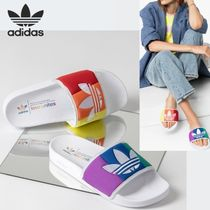adidas Stripes Open Toe Rubber Sole Casual Style Unisex