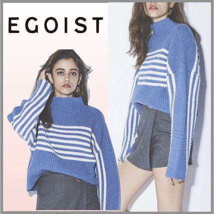 Short Stripes Casual Style Wool Dolman Sleeves High-Neck