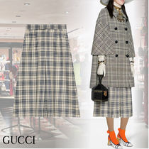 GUCCI Other Check Patterns Casual Style Wool Elegant Style