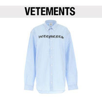 VETEMENTS Stripes Casual Style Street Style Long Sleeves Cotton