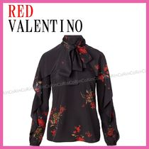 RED VALENTINO Flower Patterns Long Sleeves Party Style Shirts & Blouses