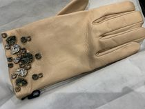 PRADA Leather With Jewels Leather & Faux Leather Gloves