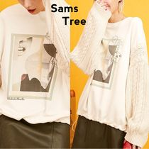 ELF SACK Crew Neck Cable Knit Sweat Street Style Long Sleeves Medium