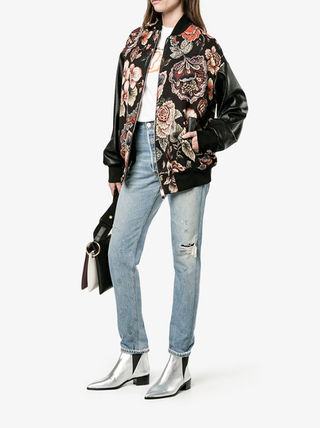 Stella McCartney Flower Patterns Faux Fur Street Style Medium Oversized
