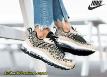 Nike AIR MAX 98 Leopard Patterns Lace-up Casual Style Street Style Logo