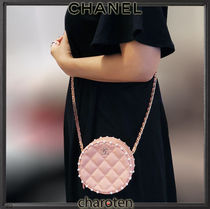 CHANEL ICON Casual Style Blended Fabrics Chain Plain Leather Party Style