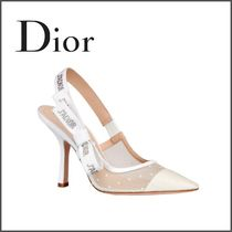 Christian Dior Dots Blended Fabrics Plain Leather Pin Heels Elegant Style