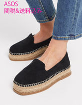 ASOS Platform Round Toe Casual Style Suede Plain Leather