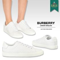 Burberry Round Toe Rubber Sole Lace-up Casual Style Leather