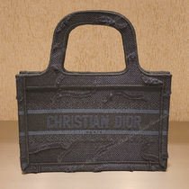 Christian Dior BOOK TOTE Camouflage Canvas Office Style Elegant Style Logo Totes