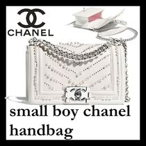CHANEL Calfskin 2WAY Chain Plain With Jewels Party Bags