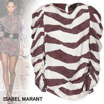 Isabel Marant Stripes Casual Style Silk Puffed Sleeves Long Sleeves Medium