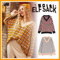 ELF SACK Street Style V-Neck Long Sleeves Medium Office Style