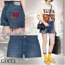 GUCCI Short Casual Style Denim Blended Fabrics Street Style Cotton