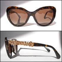 CHANEL Blended Fabrics With Jewels Cat Eye Glasses Sunglasses