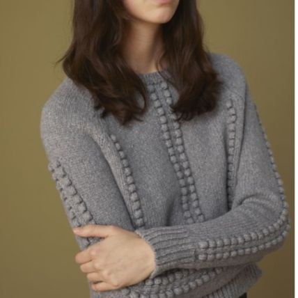 Crew Neck Casual Style Wool Long Sleeves Office Style