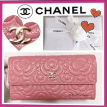 CHANEL ICON Flower Patterns Calfskin Plain Long Wallets