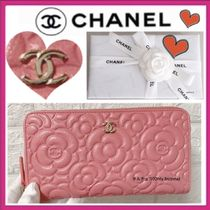 CHANEL ICON Flower Patterns Calfskin Long Wallets
