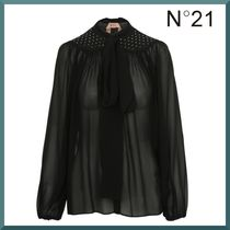 N21 numero ventuno Silk Studded Long Sleeves Plain Medium Shirts & Blouses