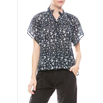 Short Flower Patterns Casual Style Cotton Short Sleeves