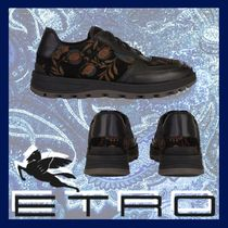 ETRO Flower Patterns Blended Fabrics Leather Sneakers