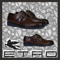 ETRO Monk Plain Leather Loafers & Slip-ons
