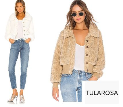 Short Casual Style Street Style Plain Shearling Jackets