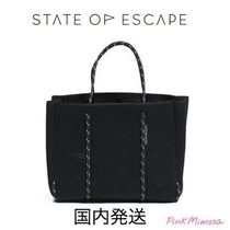 State of Escape Collaboration A4 2WAY Plain Elegant Style Totes