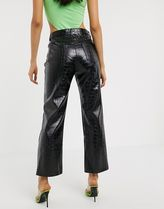 ASOS Casual Style Faux Fur Leather & Faux Leather Pants