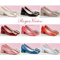 Roger Vivier Round Toe Enamel Blended Fabrics Plain Leather Block Heels