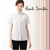 Paul Smith Stripes Casual Style Cotton Short Sleeves Shirts & Blouses