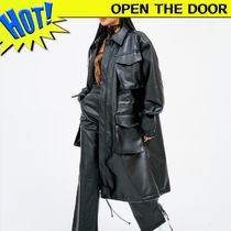 OPEN THE DOOR Unisex Faux Fur Street Style Plain Long Oversized Coats