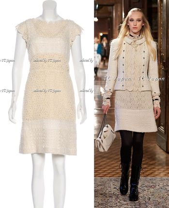 CHANEL TIMELESS CLASSICS CHANEL 15PF Paris Salzburg Creme Cashmere Sheath Dress F38