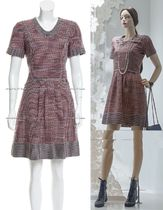 CHANEL TIMELESS CLASSICS CHANEL Burgundy Wine Red Blue Mix Tweed Dress F40