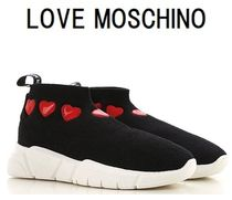 Love Moschino Round Toe Rubber Sole Casual Style Plain Low-Top Sneakers