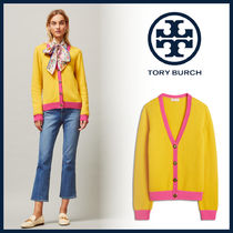 Tory Burch Casual Style Cashmere Bi-color Long Sleeves Medium Cashmere