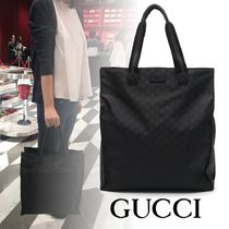 GUCCI Unisex Nylon A4 Leather Totes