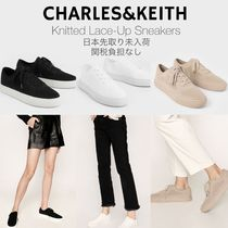 Charles&Keith Casual Style Faux Fur Plain Chunky Heels Low-Top Sneakers