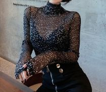 Street Style Long Sleeves Party Style Shirts & Blouses