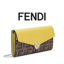 FENDI Monogram Calfskin Chain Plain Long Wallets