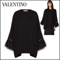 VALENTINO Blended Fabrics Dolman Sleeves Long Sleeves Plain Cotton