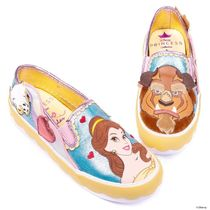 Disney Round Toe Casual Style Collaboration Logo Slip-On Shoes