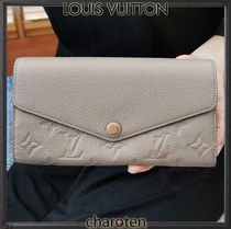 Louis Vuitton PORTEFEUILLE SARAH Monogram Unisex Calfskin Plain Leather Folding Wallet