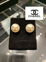 CHANEL ICON Blended Fabrics Party Style Elegant Style Earrings