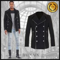 BALMAIN Short Wool Plain Peacoats Coats