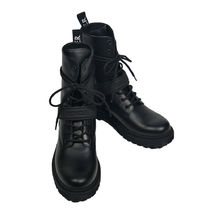 MONCLER Lace-up Street Style Plain Leather Logo Lace-up Boots