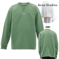 Acne Crew Neck Pullovers Long Sleeves Plain Cotton Oversized