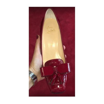 Christian Louboutin Square Toe Tassel Plain Leather Block Heels Party Style